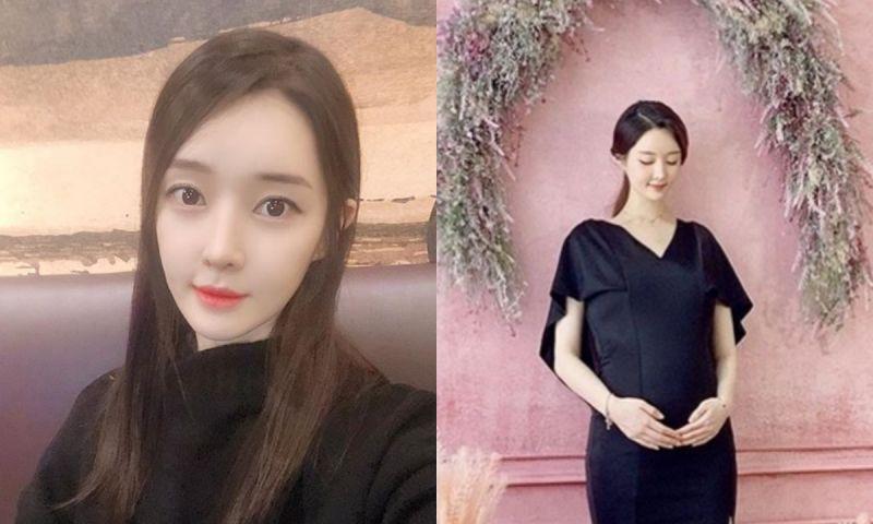 T-ara出身雅凜曬7個月孕肚美照 優雅黑裙低頭溫婉一笑