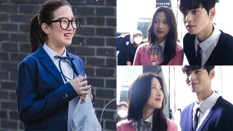 tvN漫改劇《女神降臨》海報拍攝花絮!看到文佳煐「素顏朱靜」的照片,車銀優表情管理失敗 XD