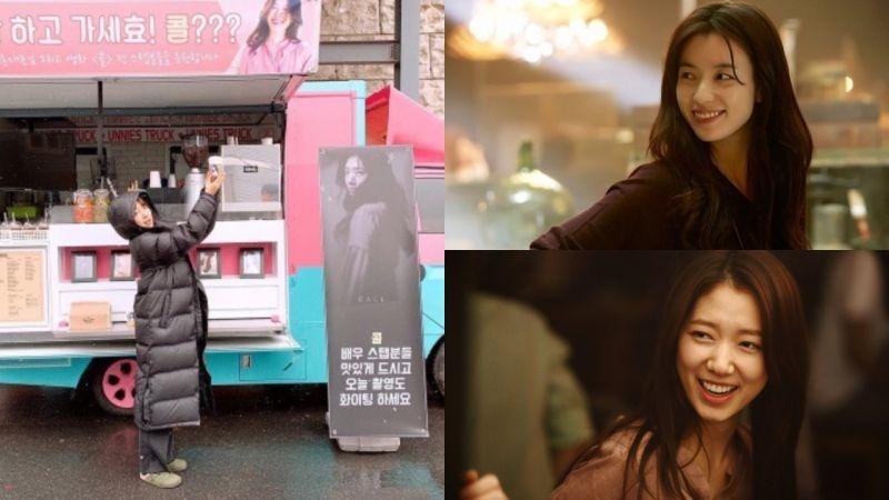 女神們的友誼認證!韓孝周為朴信惠送上應援咖啡車,還記得她們一起演過哪部電影嗎?