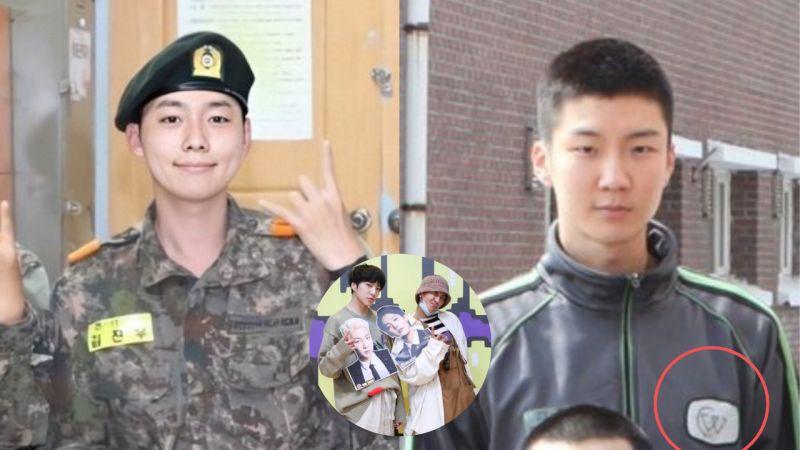 团魂满满!在军队也是WINNER...金秦禹比了组合的手势 、李升勋在胸口贴了粉丝Logo!