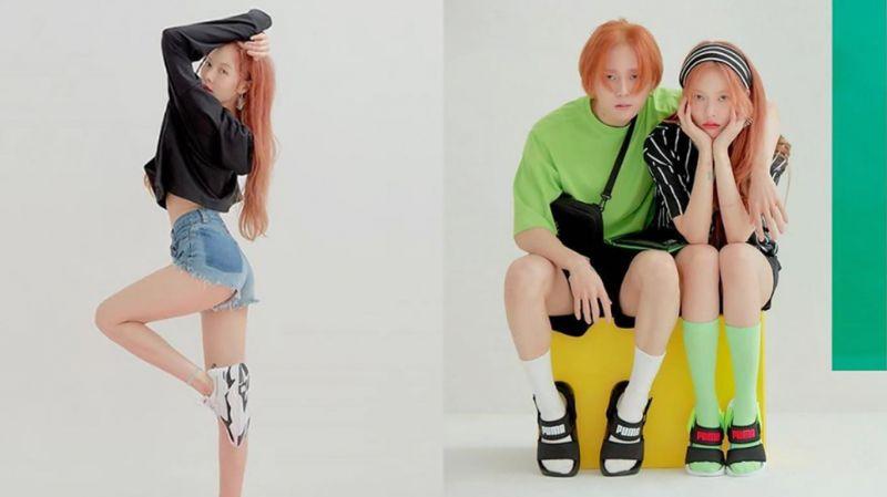 泫雅&E'Dawn携手为运动品牌拍摄情侣♥写真:女神腿太美了~!