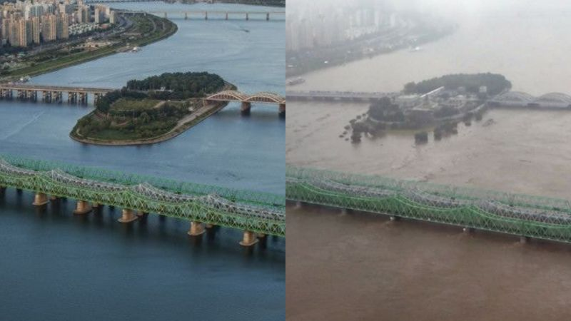 直觀感受首爾的「洪水注意報」!暴雨前後的漢江水位變化
