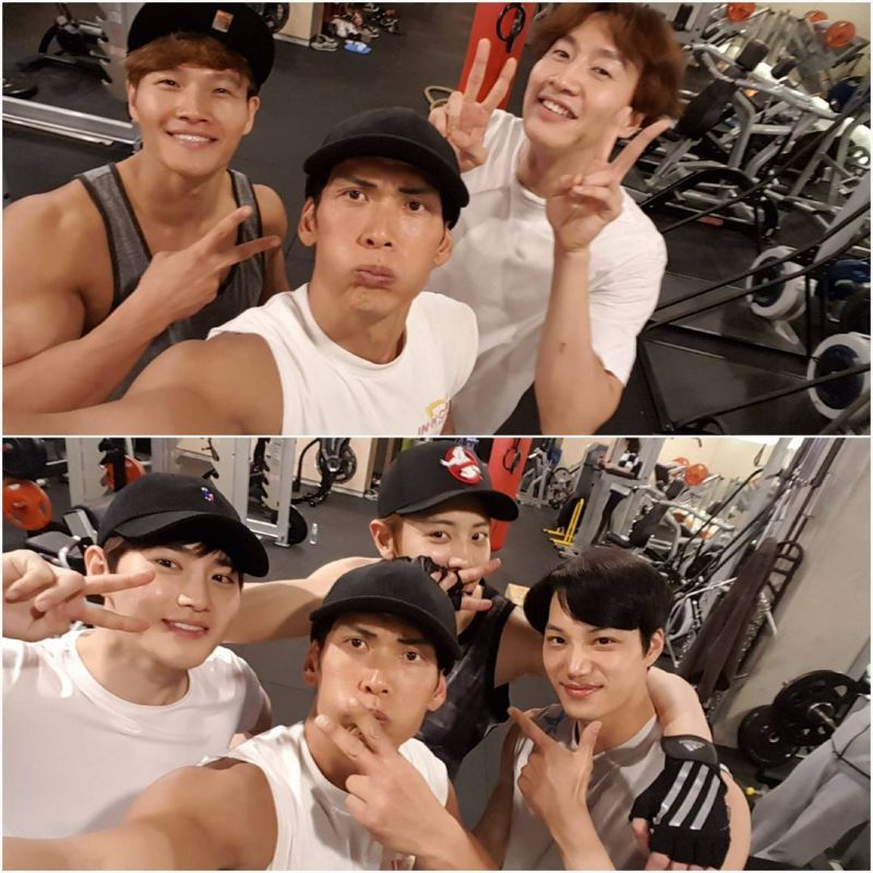 g.o.d朴俊亨分享健身房照片 與金鐘國、李光洙、EXO SUHO、燦烈和KAI合影!