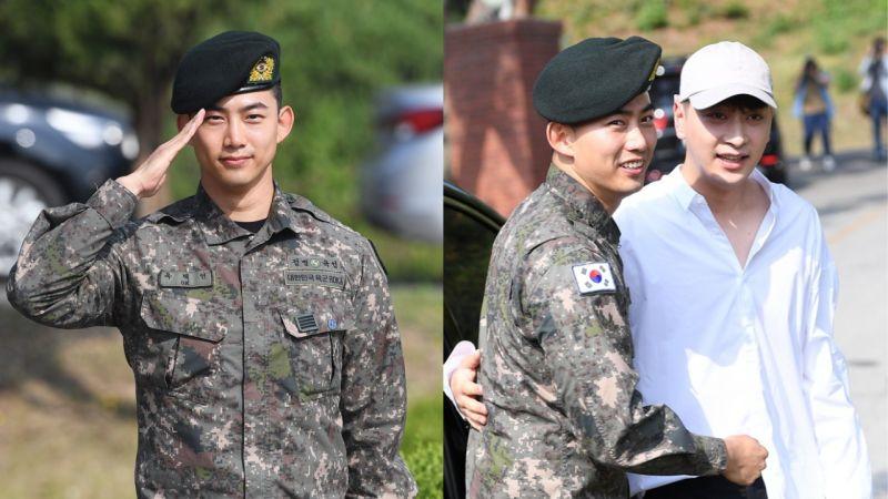【多圖】2PM玉澤演今日退伍,隊友黃燦盛到場迎接!更表示:「我會努力以好作品和大家見面的!」