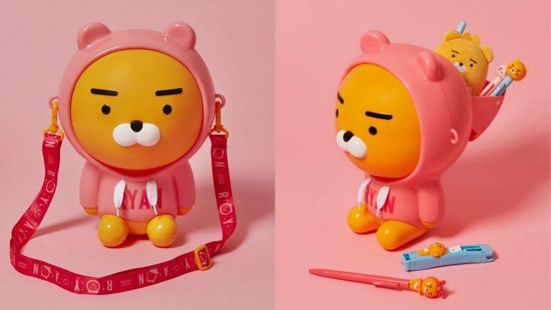 又要让大家掏出钱包了!Kakao Friends推出穿著粉红帽踢的「Ryan爆米花桶」,超级可爱呀!
