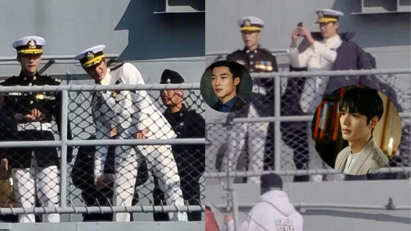 《The King:永远的君主》最新拍摄路透照曝光!李敏镐穿著一身白色海军制服,4月快点来吧~