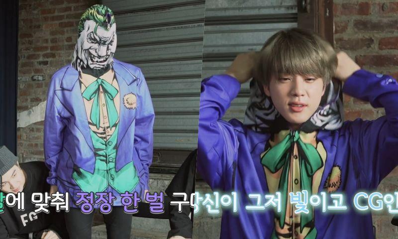 「您哪位?XD」BTS防弹少年团Jin穿Joker衣服录节目,把自己脸都挡住